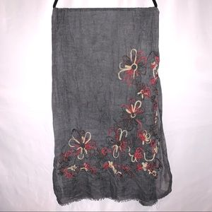 Floral Embroidered Gray Sheer Scarf NWT